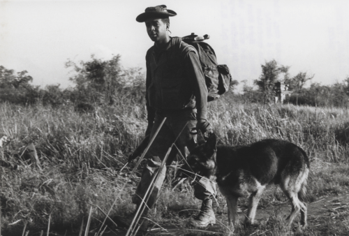 USMC PFC Waldo Roame and his scout dog, Hobo, in action in 1968 during Operation Meade River, 13 miles southwest of Da Nang. More than 5,000 Marines participated in the cordon, the largest heli-based operation in Marine Corps history. Photo Credit: USMC
